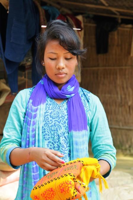 Kalsindur Moyana beim Wäsche aufhängen